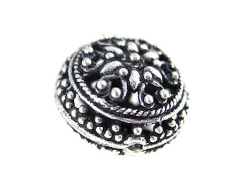 Bali Beads Silver Plated Copper Filigree 16mm Round Spacer Bead-- 2 BEADS  (S18-B1-10)