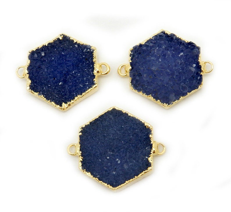 Druzy Hexagon Dyed Blue Druzy Double Bail Pendant with Electroplated 24k Gold Edge Stunning High Quality Druzy S88B1-07