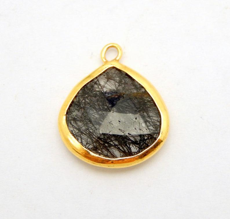 S34B28-12 15mm Gold Over Sterling Drop Bezel Rutilated Crystal Quartz Drop Pendant