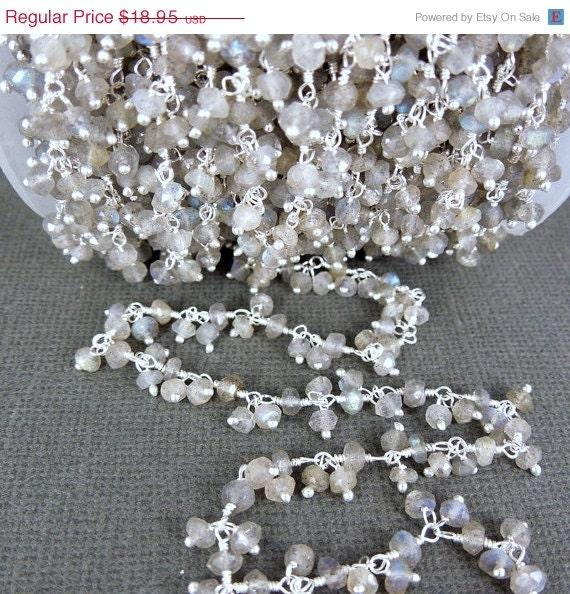 10 pi Labradorite fil perlé chaîne - argent pendantes Rosaire chaîne de Style - 10 pieds (CHN-45)