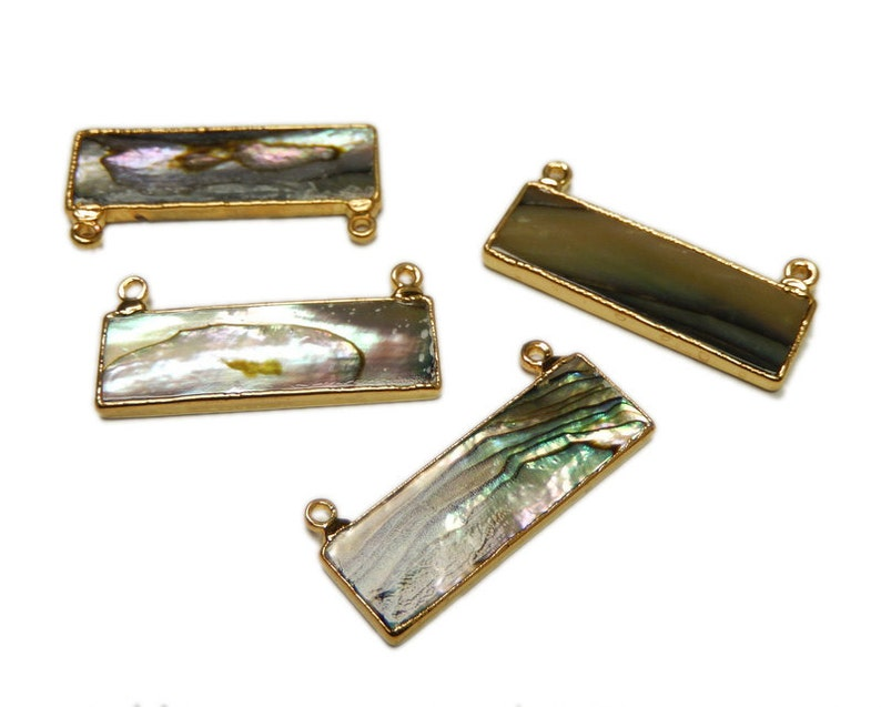 S8B12-01 Abalone Bar Double Bail Pendant with Electroplated 24k Gold Edge