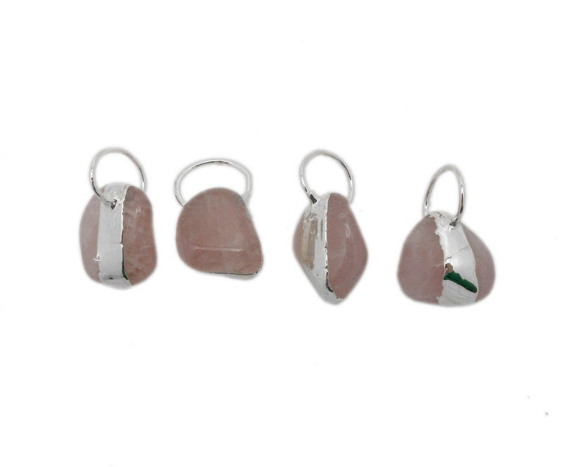Tumbled Rose Quartz Freeform Pendant with Electroplated Silver Edge and Fancy Bail S87B17-02