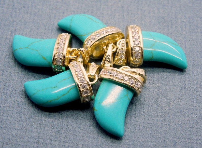 Turquoise Horn Petite Pendant Charm with Electroplated 24K Gold and Pave CZ Rhinestone Cap RPH La-33