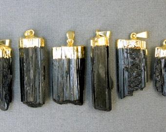 Black Tourmaline Pendant - Raw Black Tourmaline Stone Rod with Gold Electroplated Cap (S24B14-01)