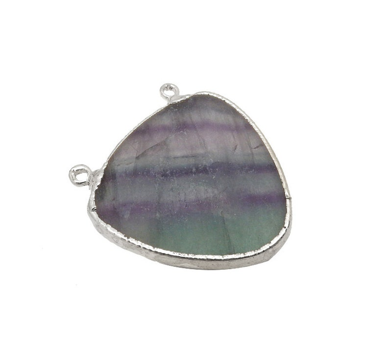Rainbow Fluorite Drop Double Bail Pendant with Electroplated Silver Edge S93B11-24