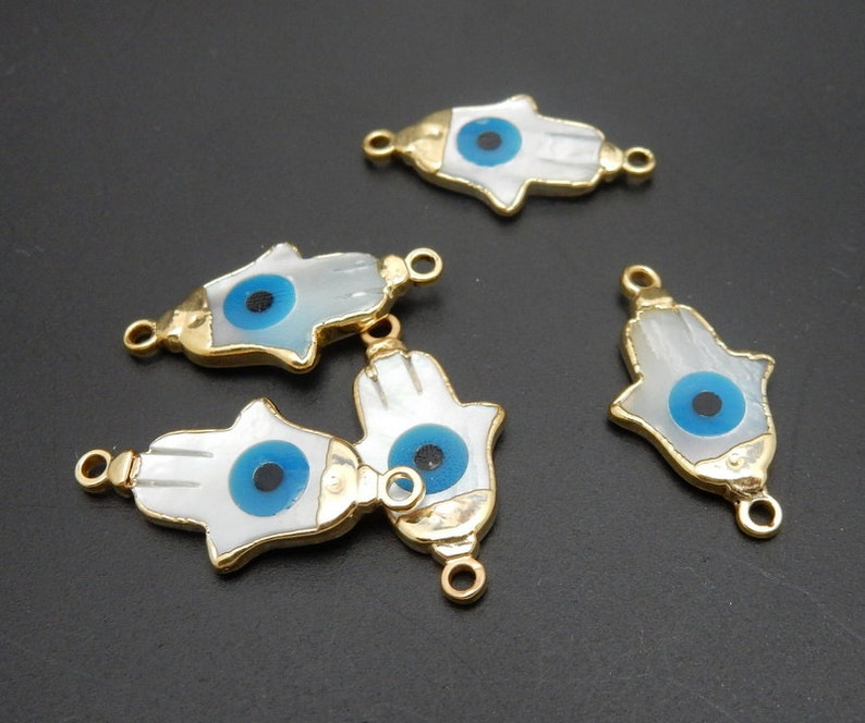 Petite Pearl Hamsa Hand with Turquoise Eye Double Bail Pendant with Electroplated 24k Gold Cap and Edge S36B22-17