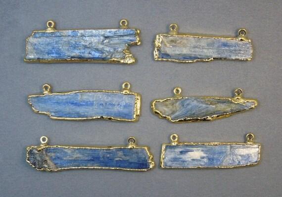 5 pcs brut brut brut bleu cyanite Double attache pendentif breloque avec 24 k or plaqué bords - gros Lot de 5 - (S25B3-12) 16fe85