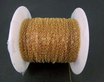Gold Fill Chain Flat Cable Chain 1.3mm-- By 10 FEET