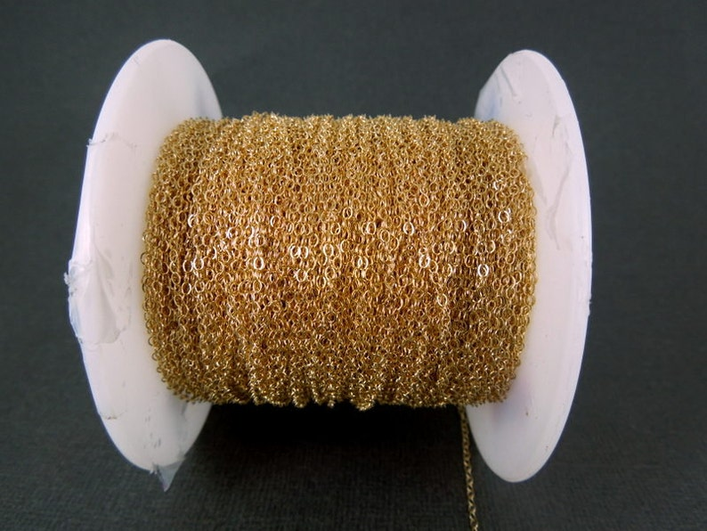 Gold Fill Chain Flat Cable Chain 1.3mm By Foot image 0