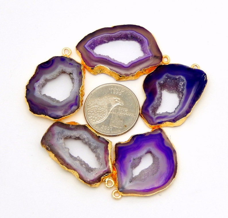 YOU CHooSe AGT-19 Purple Druzy Agate Slice Pendant Electroplated with 24k Gold Edge and Bail