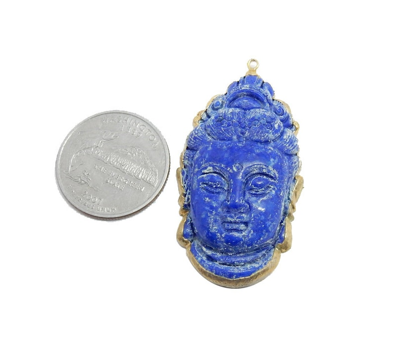 Lapis Buddah Head Pendant with Electroplated 24k Gold Edge-OOAK G-6086