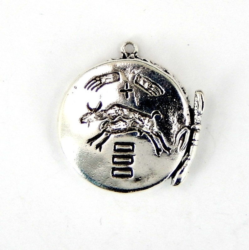 S82B6-08 Drum Pendant with Intricate Design Cast in Sterling Silver Petite Charm