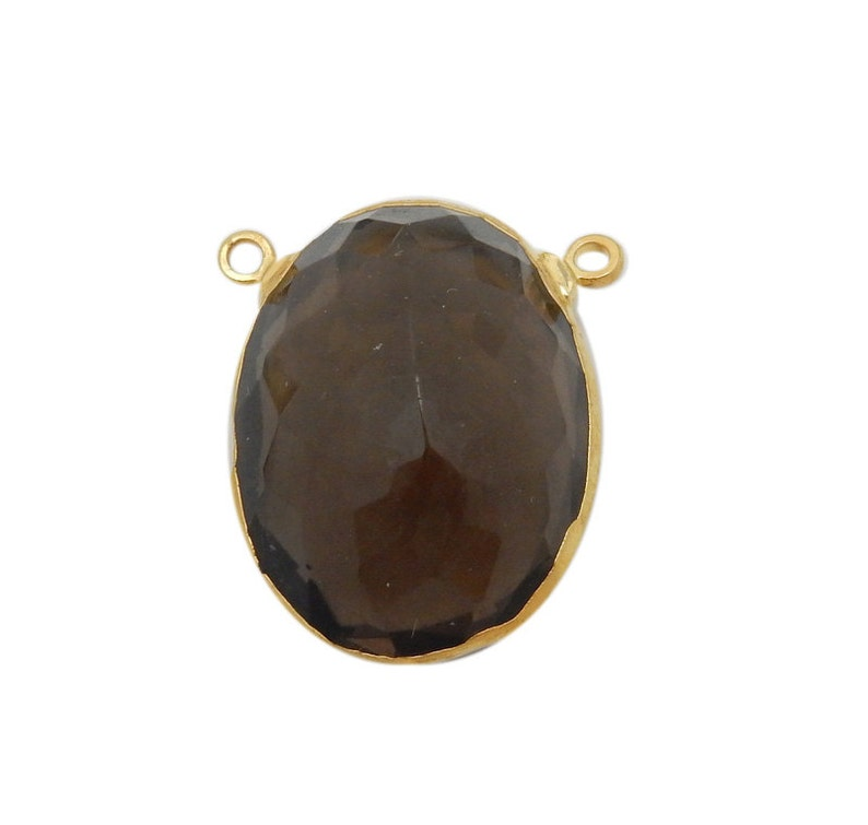 Smokey Quartz Oval Briolette Double Bail Pendant with Electroplated 24k Gold Edge and Bail S98B12-13
