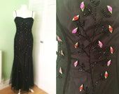 90s Goth Rosebud Beaded Soft Fishtail Dress. Prom. Vintage. Morgan Co, by Linda Bernell.