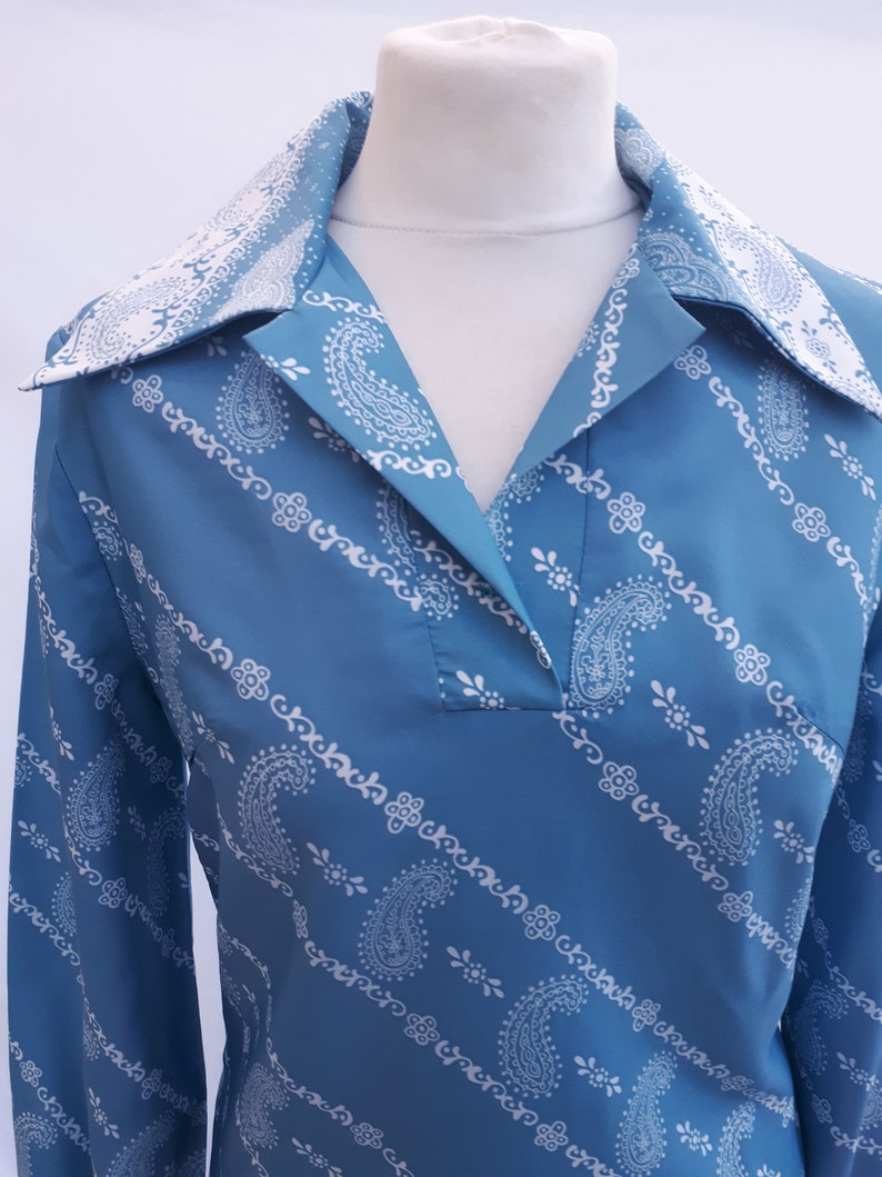 Paisley Blue Dress 1970/'s Vintage By Sid Greene of London.