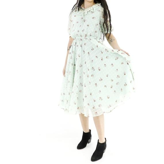 Roses & Polka Dots Mint Dress - image 1