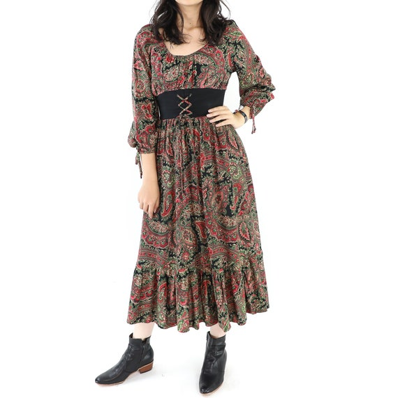 Vintage Cotton Paisley Maxi Dress