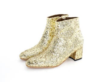 Golden Glitter Ankle Boots