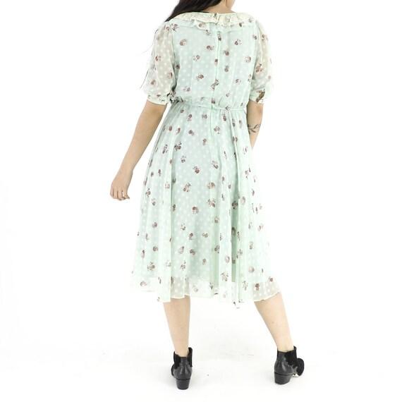 Roses & Polka Dots Mint Dress - image 3