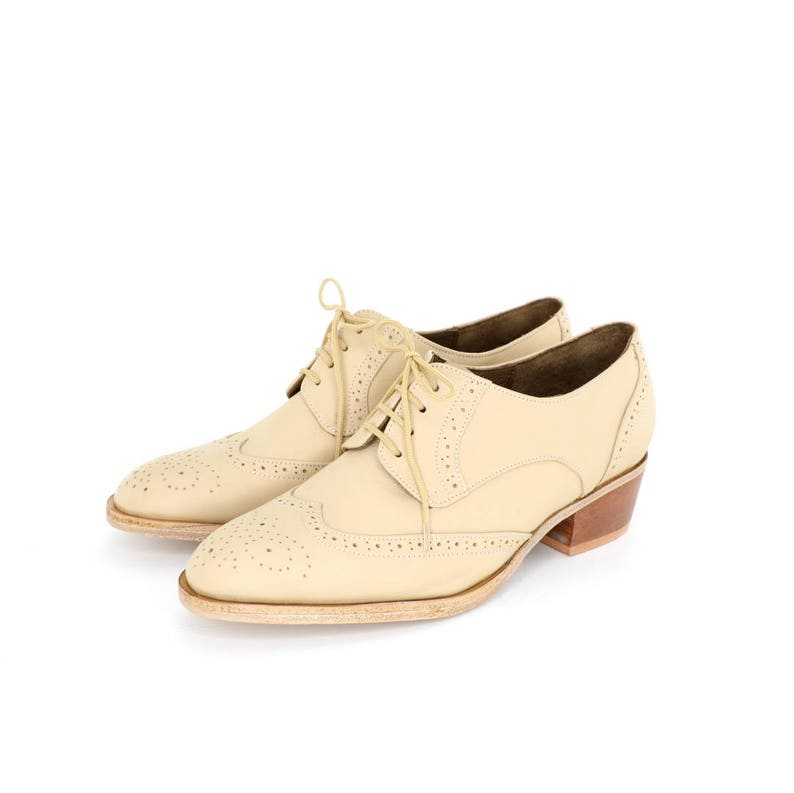 49dcadc9195 Ivory oxford brogues shoes cuban heel FREE WORLDWIDE