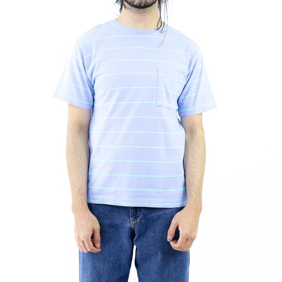 Baby Blue & Cyan Striped T-shirt