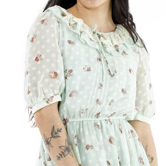 Roses & Polka Dots Mint Dress - image 4