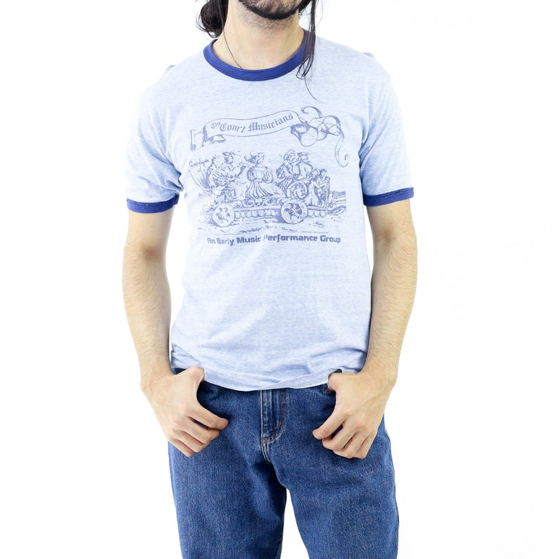 An Early Performance Group Baby Blue Cotton Graphic Vintage T-shirt