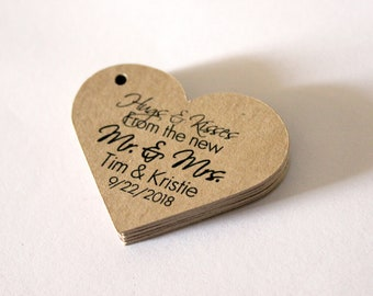 hugs kisses from the new mr and mrs heart shaped 2 inch wedding favor tags etsy kraft brown set of 50