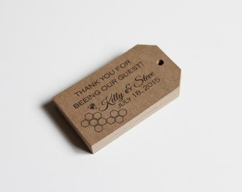 Honey Bee Favor Tags Weddings Showers Gifts Escort Cards Customized with your logo or design  150