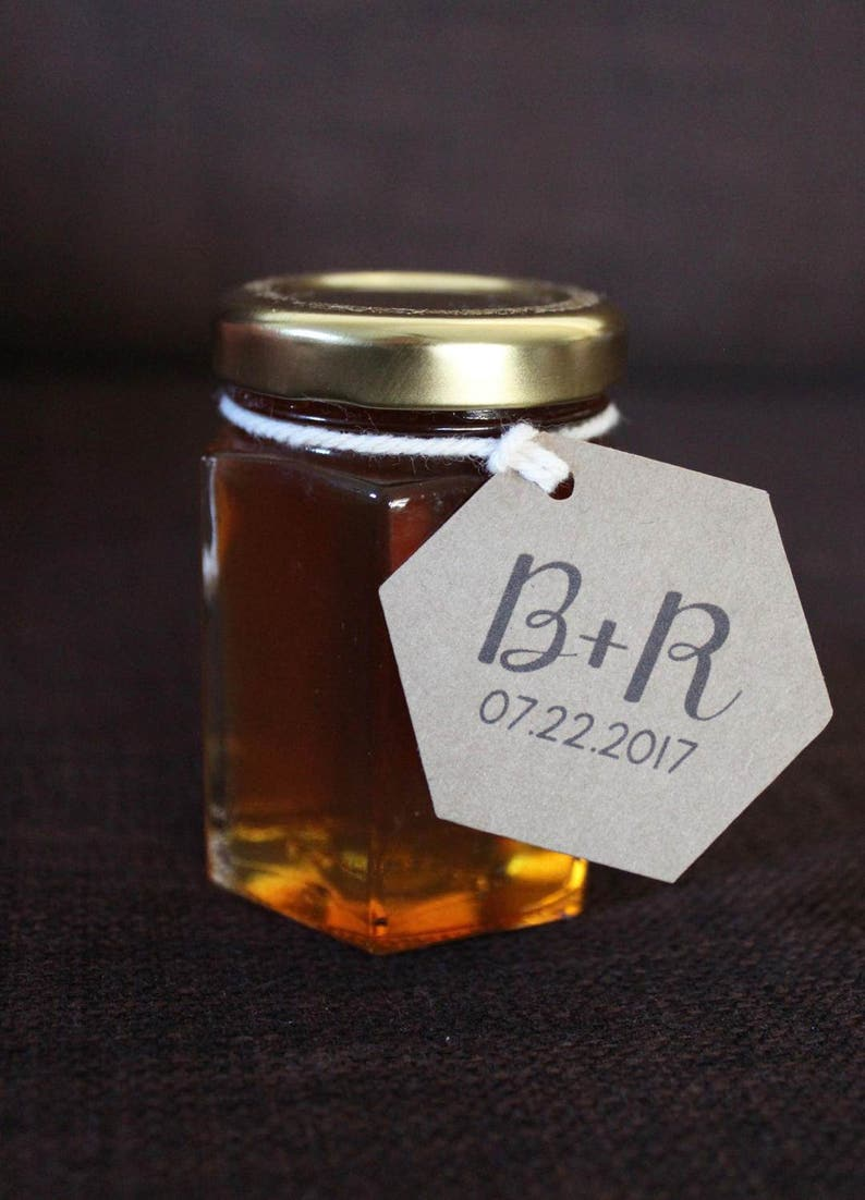 Hexagon Wedding Favor Tags for Honey Jars or Honey Dippers Guest Gift Thank You Personalized with Your Initials Date Set of 50