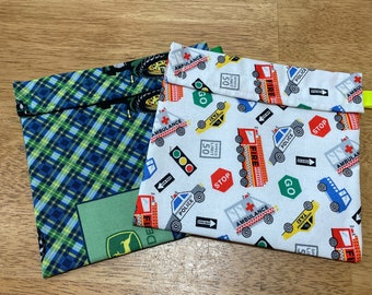 Green Tractor Reusable Snack and Sandwich Bag Set ON SALE