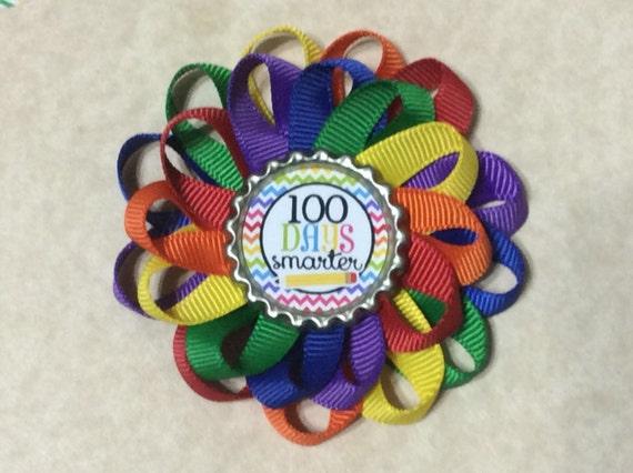 "100 days Smarter    5/"" hair bow.....Handmade Item"