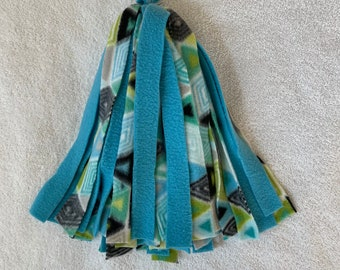 Ready to Ship! Pom-Pom Food Bowl Cover / Toy for Pet Rats, Sugar Gliders, Birds - All Fleece Peacocks Chevrons and Jade Blue