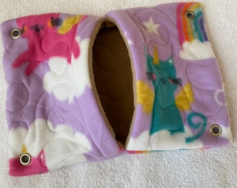 """Ready to Ship! 9""""x13"""" Quilted Pocket Hammock for Pet Rats, Sugar Gliders - All Fleece Caticorns and Rainbows with Cinnamon Brown Interior"""