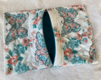 """Ready to Ship! 11""""x16"""" Quilted Pocket Hammock for Ferrets, Pet Rats - All Fleece Wildflower Butterflies with Sky Blue Interior"""