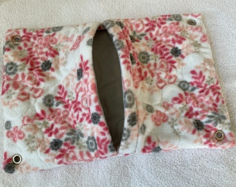 """Ready to Ship! 11""""x16"""" Quilted Pocket Hammock for Ferrets, Pet Rats - All Fleece Coral Floral with Dove Grey Interior"""