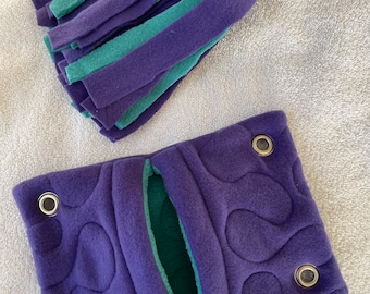 """Ready to Ship! BUNDLE 6""""x9"""" Quilted Pocket Hammock and Pom-Pom Toy for Pet Mice, Hamsters - All Fleece Royal Purple and Teal Green"""