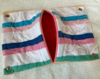 """Ready to Ship! 11""""x16"""" Quilted Pocket Hammock for Ferrets, Pet Rats - All Fleece Summer Stripes with Sugar Coral Interior"""