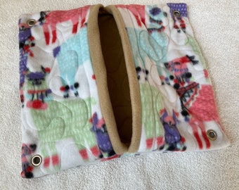 """Ready to Ship! 12""""x13"""" Quilted Pocket Hammock for Pet Rats, Sugar Gliders - All Fleece Stylish Llamas with Desert Sand Interior"""