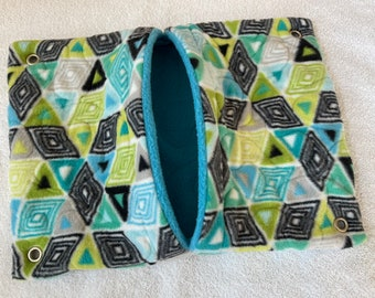 """Ready to Ship! 11""""x16"""" Quilted Pocket Hammock for Ferrets, Pet Rats - All Fleece Peacock Chevrons with Jade Blue Interior"""