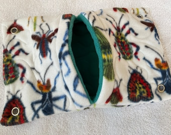 """Ready to Ship! 9""""x13"""" Quilted Pocket Hammock for Pet Rats, Sugar Gliders - All Fleece Watercolor Insects with Teal Green Interior"""