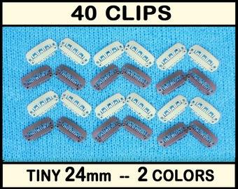 20 Baby Bow Clips, Tiny NoSlip Clips in 2 Colors - 23mm Snap Clip, 24mm Bulk Weft Cips, No Slip Hair Clip, Non-Slip Baby Hair Clips