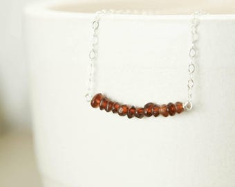 Garnet Beaded Bar Necklace - Sterling Silver Genuine Gemstone Simple Delicate Chain - Love, Joy, Passion, Healing, January Birthstone