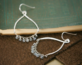 Labradorite Chandelier Earrings - Sterling Silver Wire Wrapped Gray Gemstone - Magic, Communication, Healing
