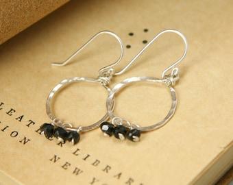 Black Spinel Circle Earrings - Hammered Sterling Silver, Genuine Gemstone - Renewal, Success, Protection, Healing