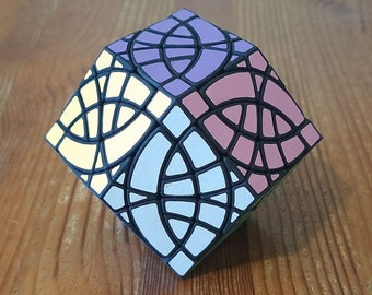 Fractured Curvy Dino Rhombic Dodecahedron v3 by Seth Holiday (rare hand made SLS puzzle similar to Rubik's Cube 3x3x3 and Pyraminx)