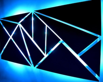 Lighted wall art etsy fracture metal wall art lighted wall art metal wall sculpture modern wall art geometric wall art abstract art led art aloadofball Image collections