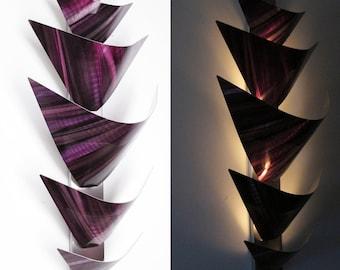 Metal Wall Sculpture Metal Wall Art Accent Lamp LED Light Sconce Light Purple Aurora Torchiere Modern Art Work Paintings & Decor