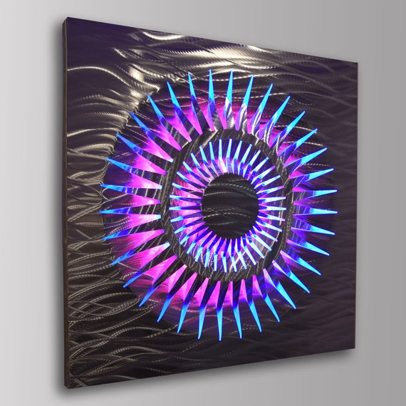 Lighted Wall Art Led Modern Metal Geometric Abstract Light Up Etsy