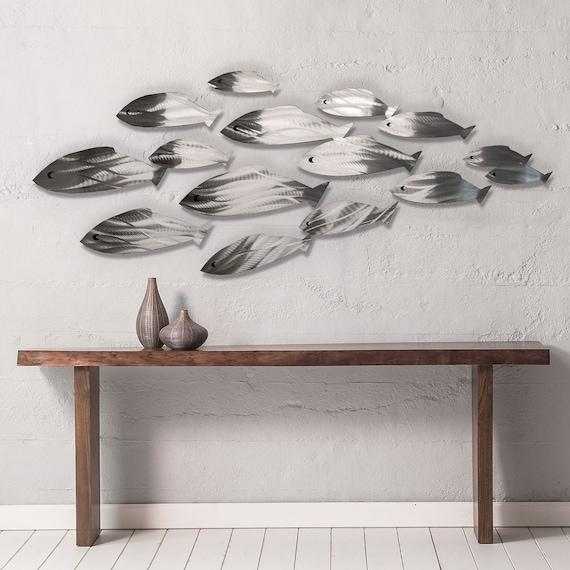 Metal Wall Art Fish Shoal Sculpture Tropical Modern Decor Etsy